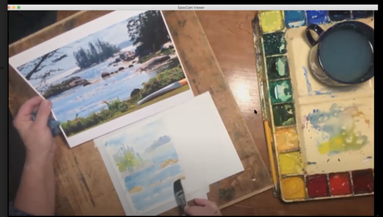 Watercolor class over Zoom