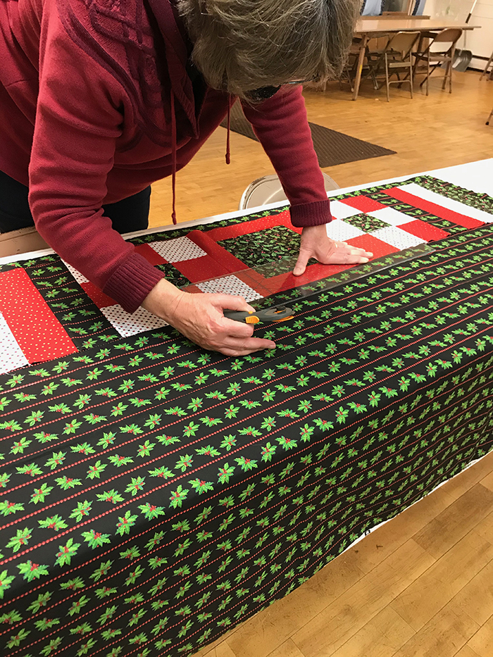 Quilting at the Legion Hall